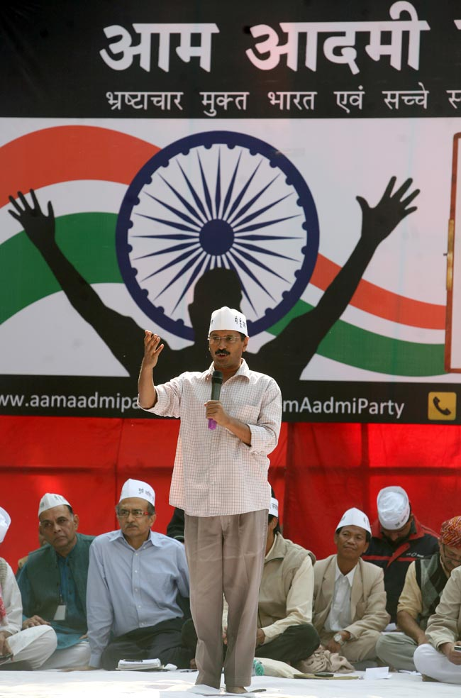 Arvind Kejriwal and others at the launch of the Aam Aadmi Party in 2012. Credit: Reuters