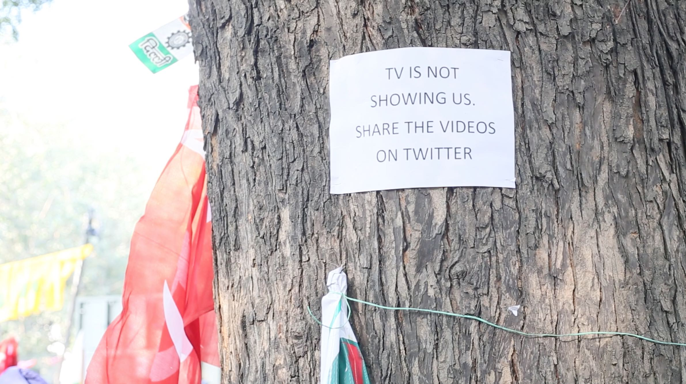 A poster displayed at the farmers' rally in Delhi on Monday. Credit: Akhil Kumar/The Wire