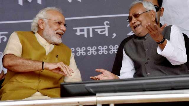 Nitish Kumar with Prime Minister Narendra Modi. Credit: PTI