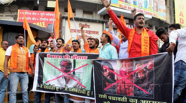 Bajrang Dal activists protesting against filmmaker Sanjay Leela Bhansali's upcoming film 'Padmavati' in Nagpur, Maharashtra. Credit: PTI/Files