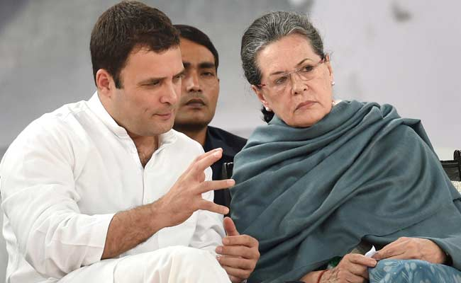 Rahul Gandhi with Sonia Gandhi. Credit: PTI
