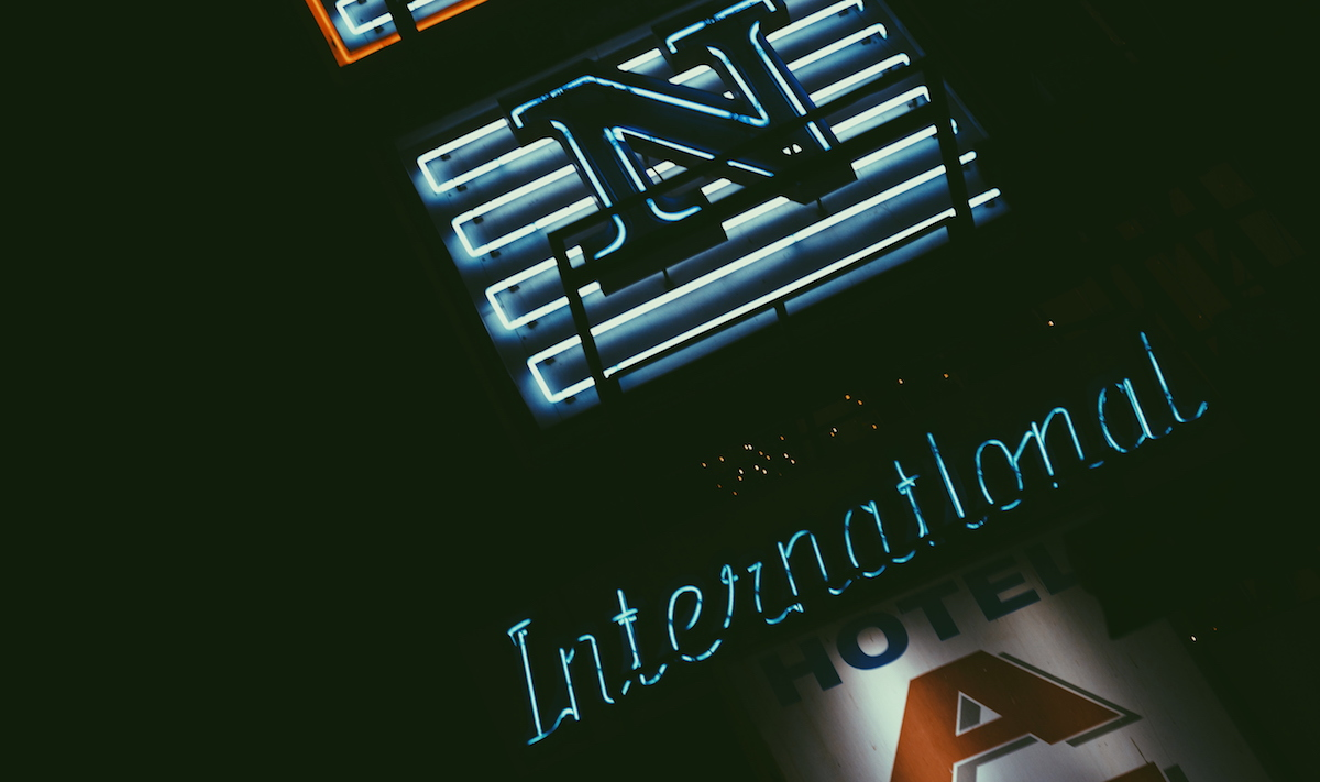 Pictured above is one of the many neon signs that can be found in crowded and chaotic Paharaganj. The full sign says, 'Aman International Hotel.' The letters take different colour combinations every second.