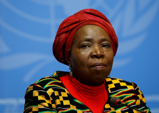 FILE PHOTO: Nkosazana Clarice Dlamini-Zuma, African Union Commission Chairperson and former South African Minister of Health, Minister of Foreign Affairs, and Minister of Home Affairs attends a news conference at the European headquarters of the United Nations in Geneva, Switzerland, May 24, 2016. Credit: Reuters/Denis Balibouse/File Photo