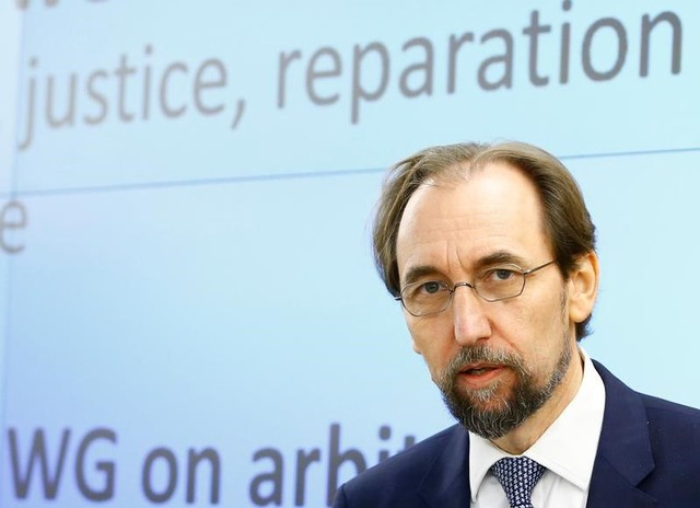 Zeid Ra'ad Al Hussein, UN High Commissioner for Human Rights arrives at the 36th Sesssion of the Human Rights Council at the United Nations in Geneva, Switzerland September 11, 2017. Credit: Reuters/Denis Balibouse/Files