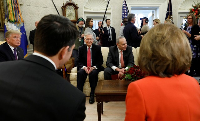US President Donald Trump meets with Congressional leaders in the Oval Office of the White House in Washington, US, December 7, 2017. Credit: Reuters/Kevin Lamarque