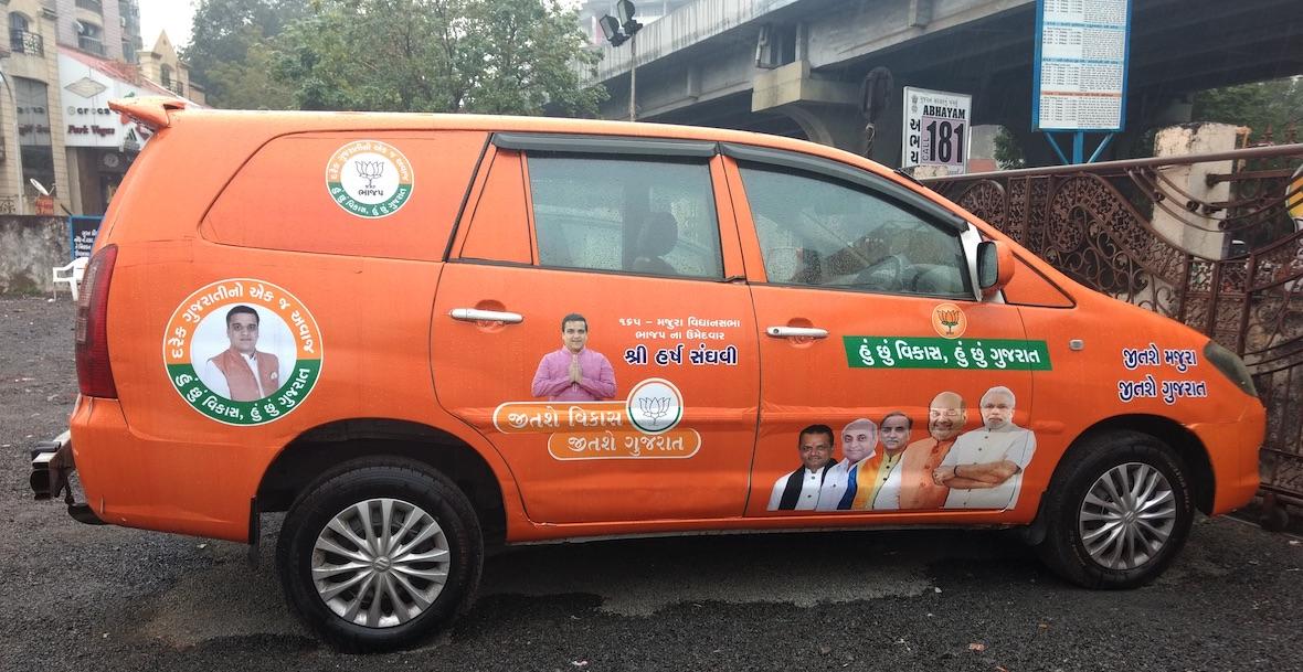 BJP's campaign car in Majura. Credit: Damayantee Dhar