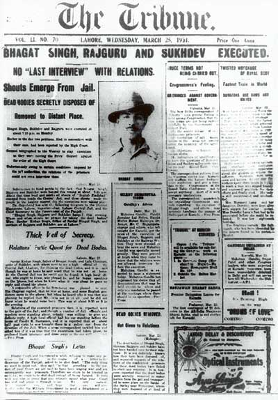 """The <em>Lahore Tribune<em/>'s front page on March 25, 1931. The headline reads 'BHAGAT SINGH, RAJGURU AND SUKHDEV EXECUTED."""" Credit: Wikimedia Commons"""