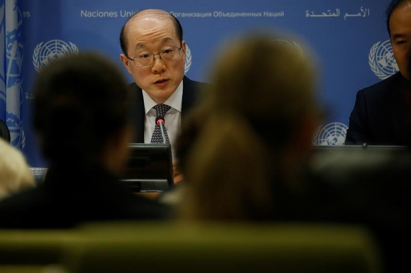 China's Ambassador to the United Nations Liu Jieyi speaks at a news conference at UN headquarters in New York City. Credit: Reuters/Carlo Allegri