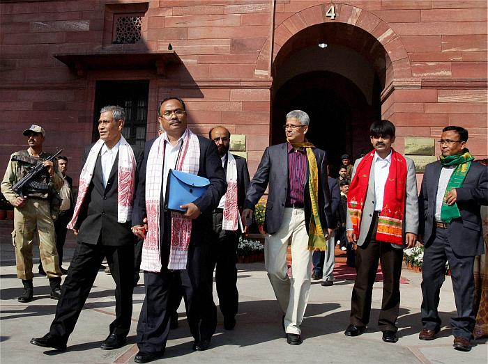 Delegation of the pro-talks ULFA leaders including Arabinda Rajkhowa (second from the left) coming out after a meeting with then Union home minister P. Chidambaram at North Block in New Delhi. Credit: PTI
