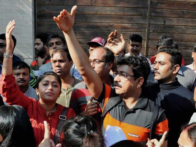 Parents protesting outside G.D. Birla School, Kolkata. Credit: PTI
