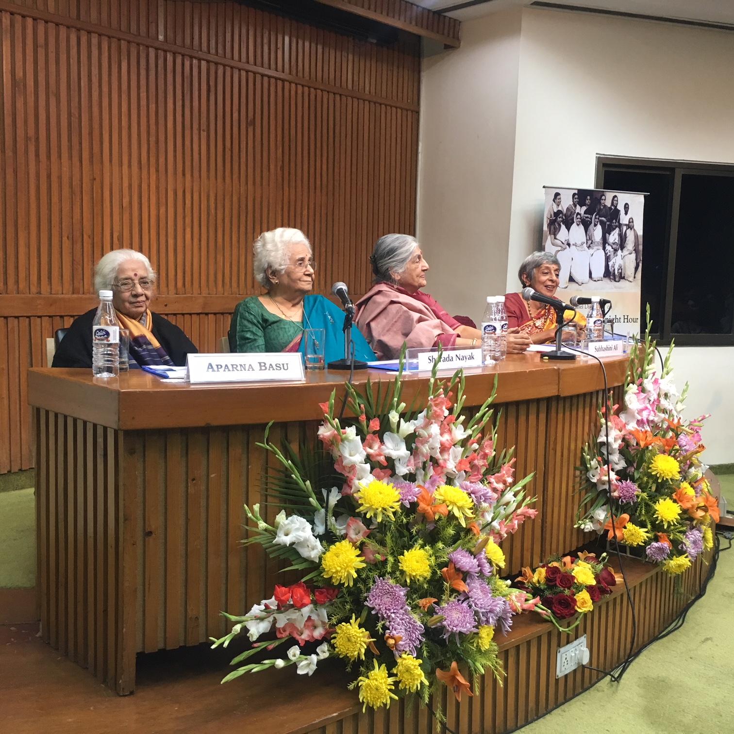 From left: Aparna Basu, Sharada Nayak, Subhashini Ali and Malavika Karlekar at the CWDS 2018 calendar launch at India International Centre Annexe. Credit: Amanat Khullar