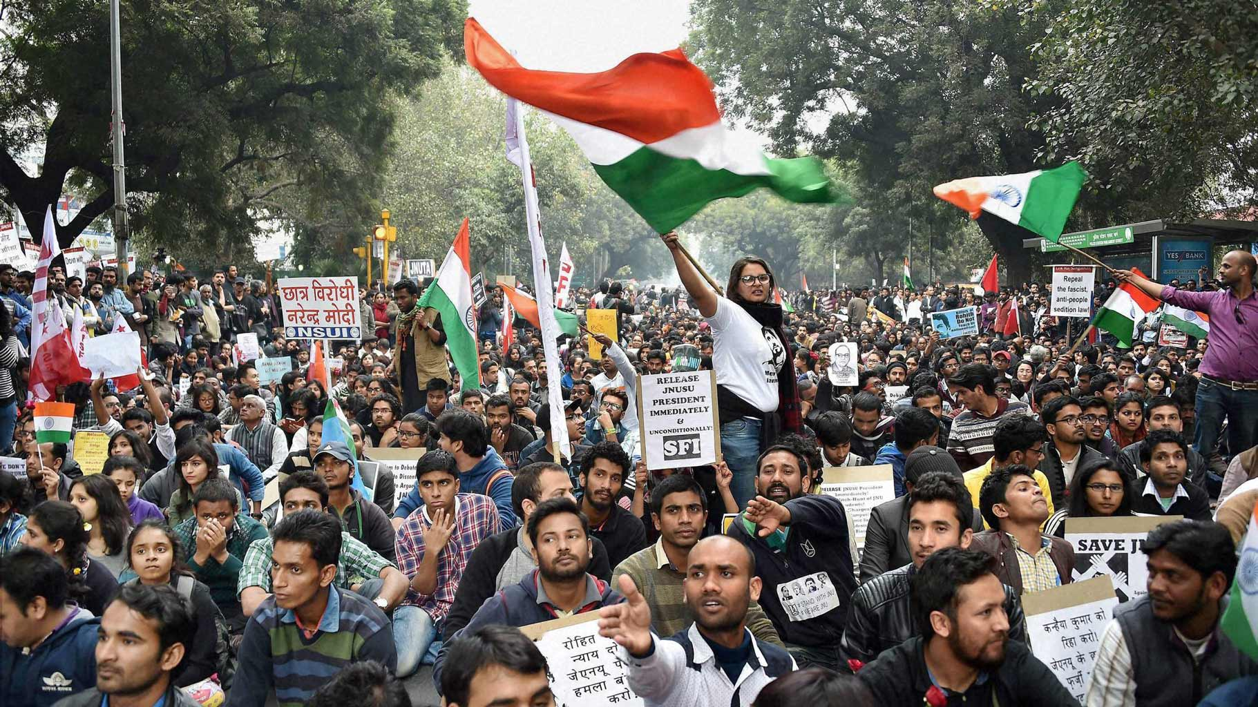 A protest at JNU. Credit: PTI