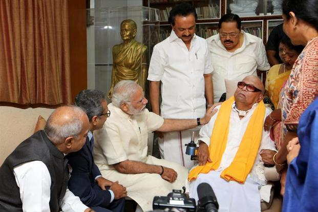 Prime Minister Narendra Modi meeting DMK chief M. Karunanidhi in November 2017. Credit: PTI