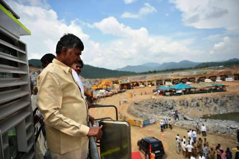 Chandrababu Naidu at the Polavaram site. Credit: Facebook/Andhra Pradesh CM/Files