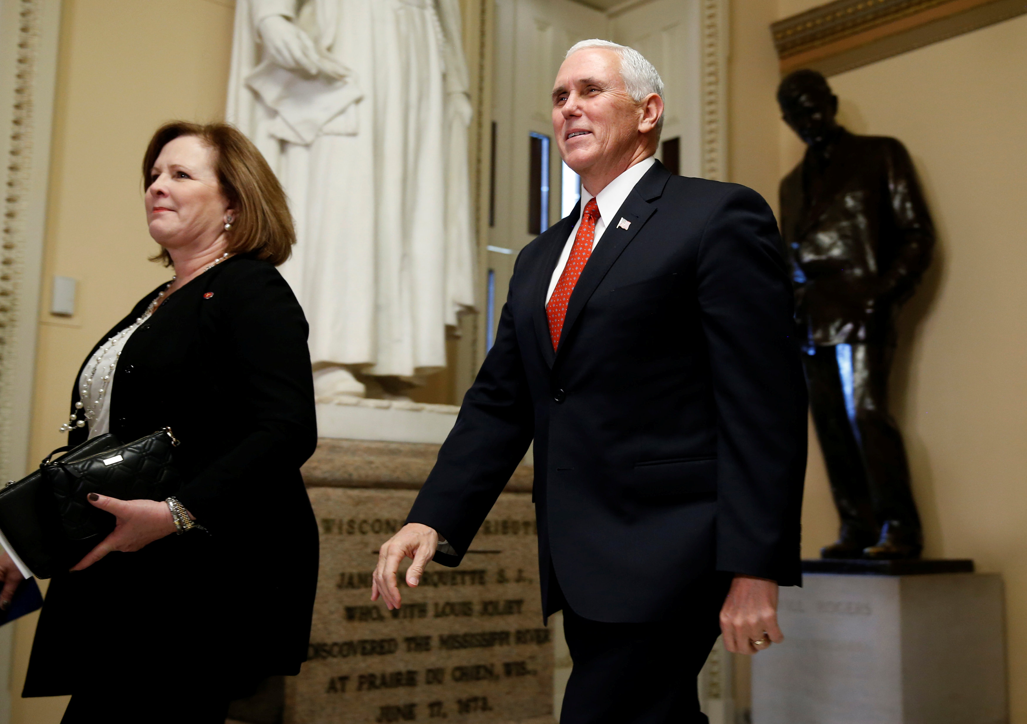 US Vice President Mike Pence walks outside the House of Representatives at the US Capitol in Washington, U.S., December 19, 2017. Credit: Reuters/Joshua Roberts