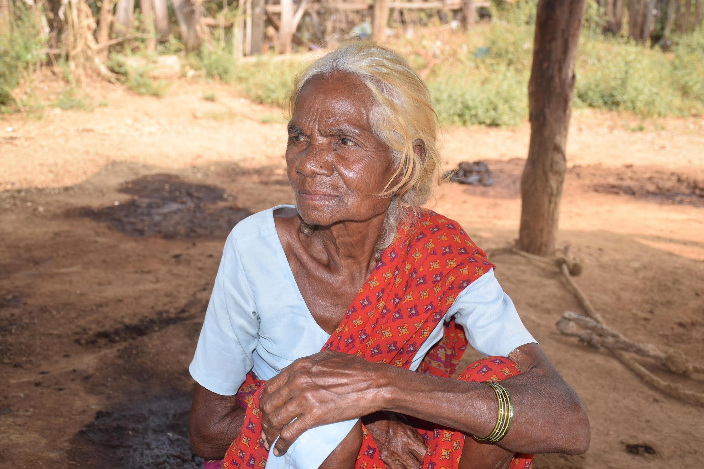 Battu Adinarayana's 70-year-old mother Lakshmi at their house in Gattumala village in Bhadradri Kothagudem district in eastern Telangana. Credit: Sukanya Shantha