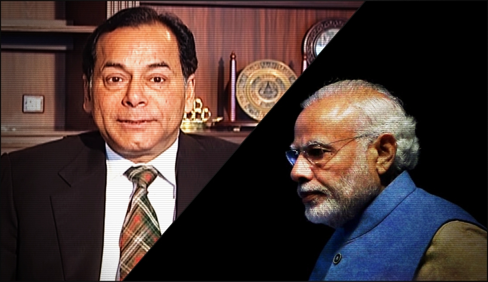 Essar vice-chairman Ravi Ruia (left) and Prime Minister Narendra Modi (right). Credit: YouTube, Reuters.