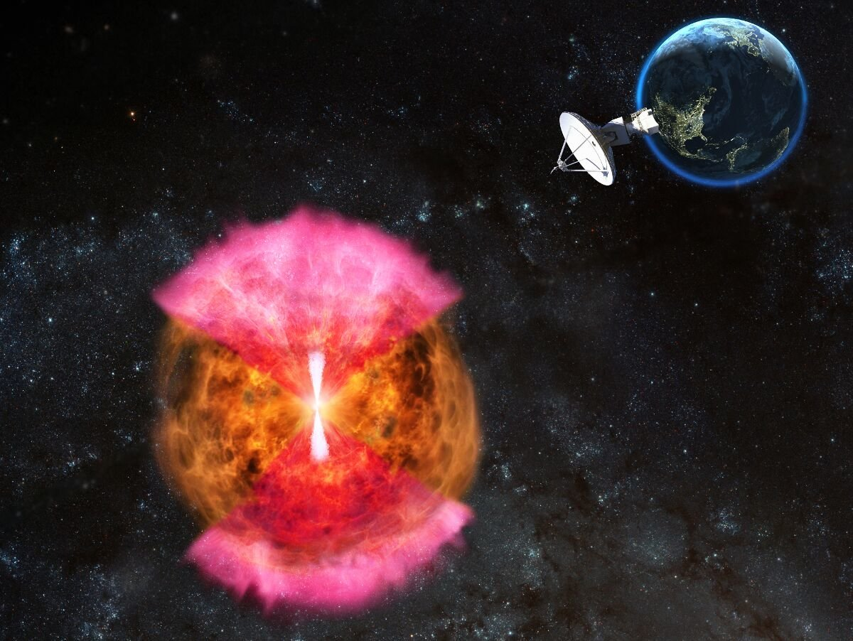 A hidden or 'choked' jet (white) powers a radio-emitting 'cocoon' (pink). Credit: NRAO/AUI/NSF: D. Berr