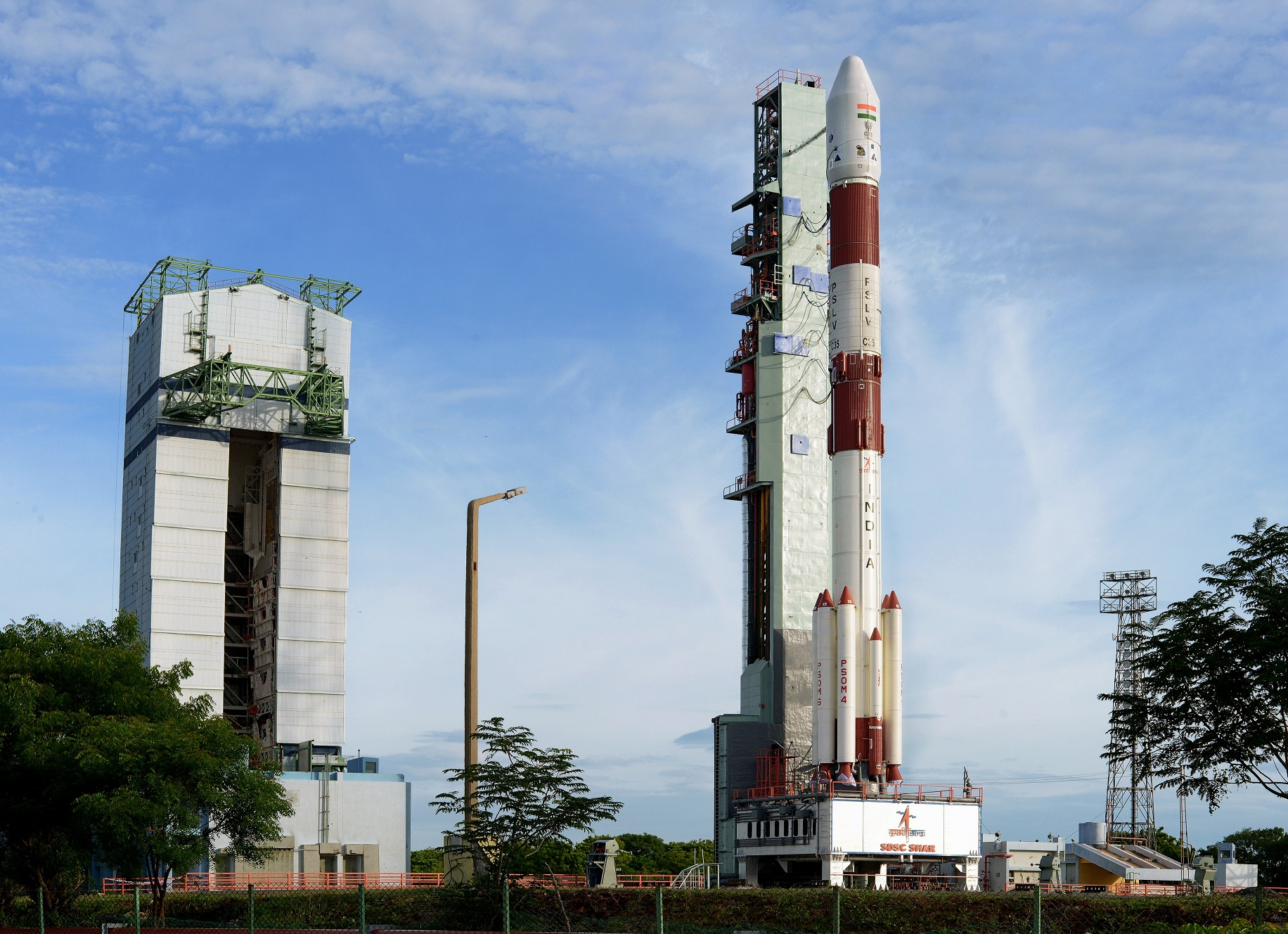 APSLV rocket at the first launchpad at SHAR, ahead of its C35 mission in September 2016. Credit: ISRO