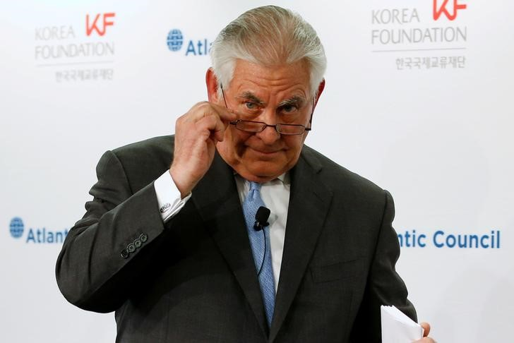 US Secretary of State Rex Tillerson concludes his remarks on the US-Korea relationship during a forum at the Atlantic Council in Washington, US December 12, 2017. Credit: Reuters/Jonathan Ernst